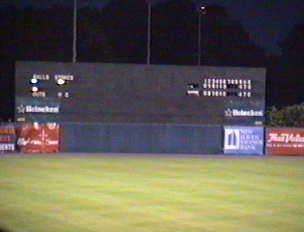 The manual scoreboard at Yale Field - New Haven